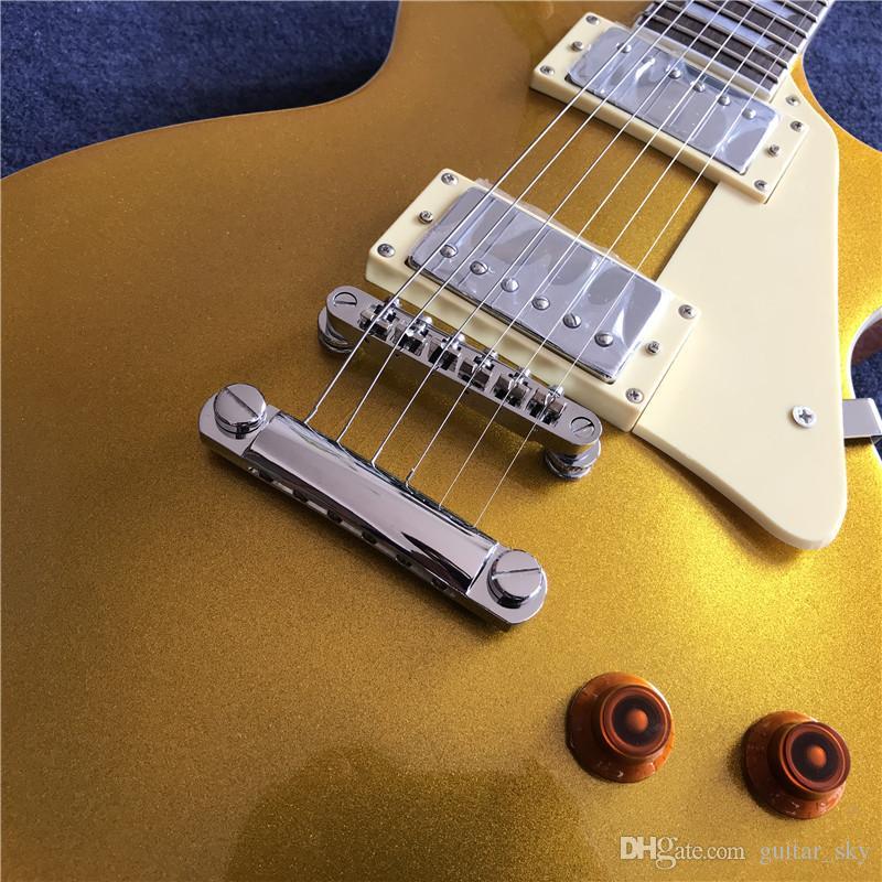 새로운 중국 공장 일렉트릭 기타 표준, 크림 피크 가드, 크롬 하드웨어가있는 금 꼭대기.
