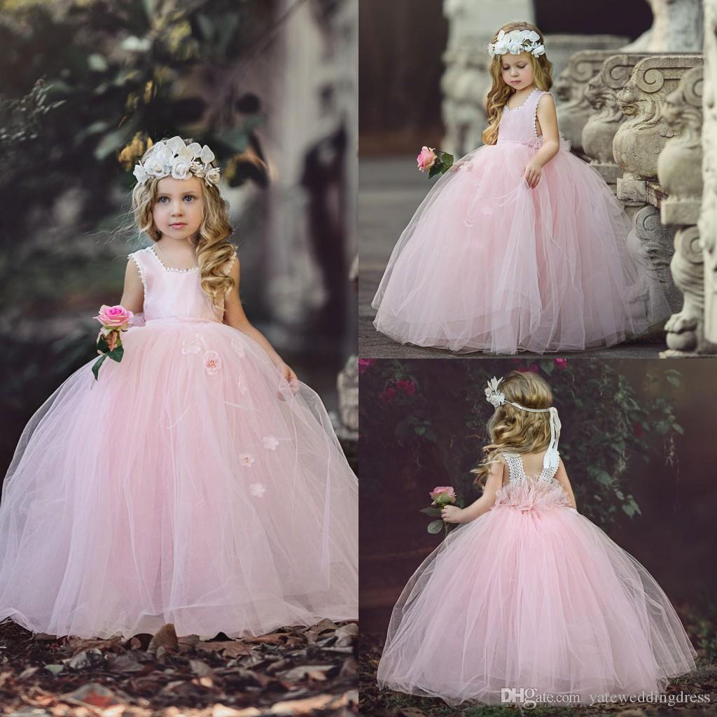Light Pink Flower Girls Dresses Scoop Neckline Sleeveless Birthday