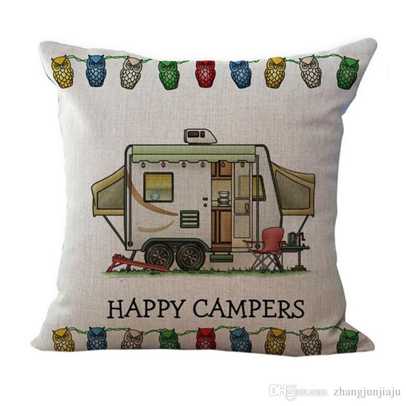 Taie d'oreiller à la taille Happy Campers taie d'oreiller étuis à coussins textile à la maison cadeau taies d'oreiller set expédition de baisse coussins de voiture Housse de coussin