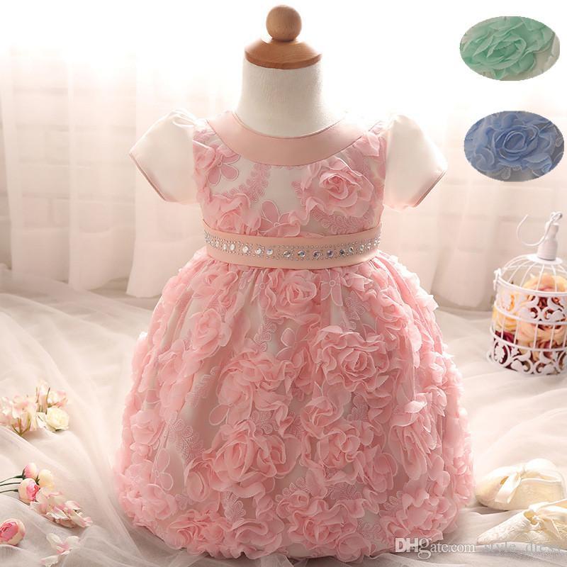 Großhandel Blumen Baby Frock Designs Neugeborenes Baby Taufkleid ...