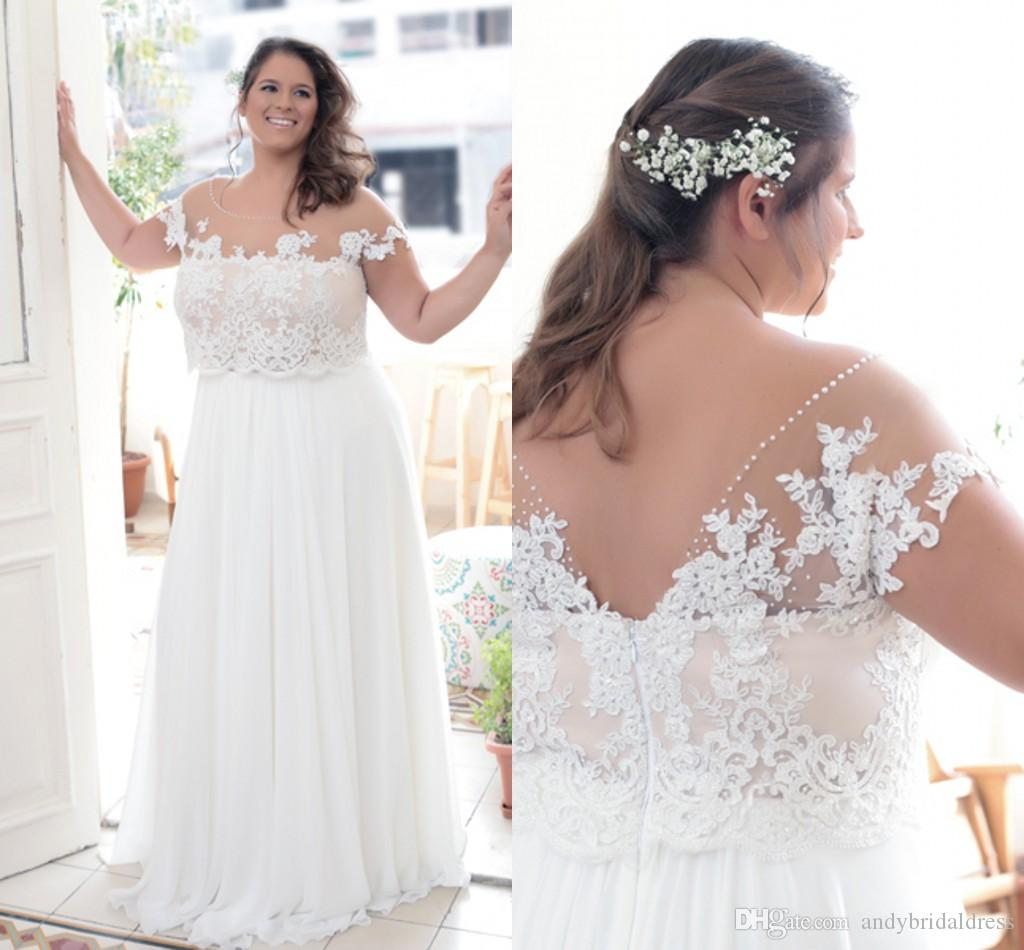Casual And Cheap Wedding Dresses: Casual Cheap Plus Size Wedding Dresses Sheer Top Chiffon