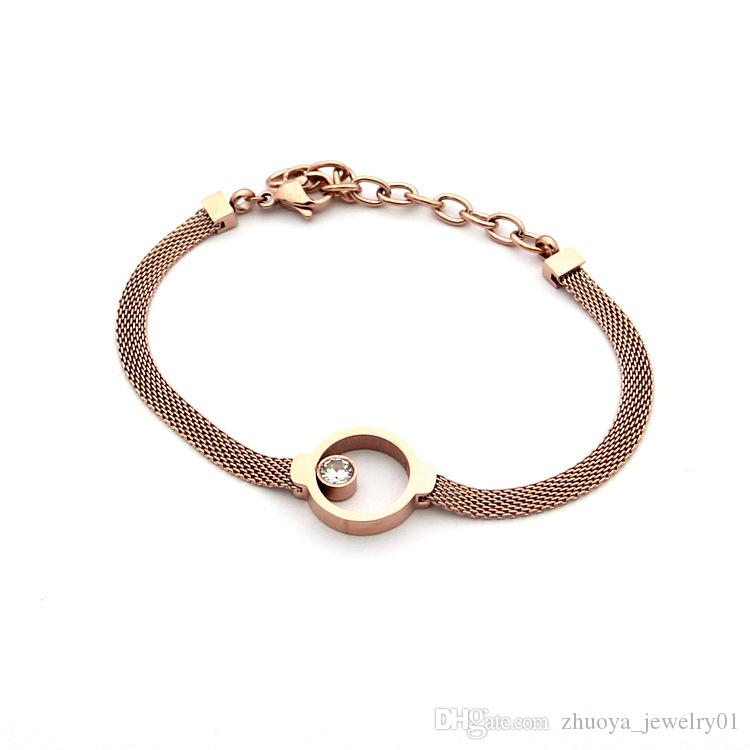 Wholesale foreign trade titanium steel jewelry hot ring single diamond wire bracelet 18K gold foreign trade Korean bracelet