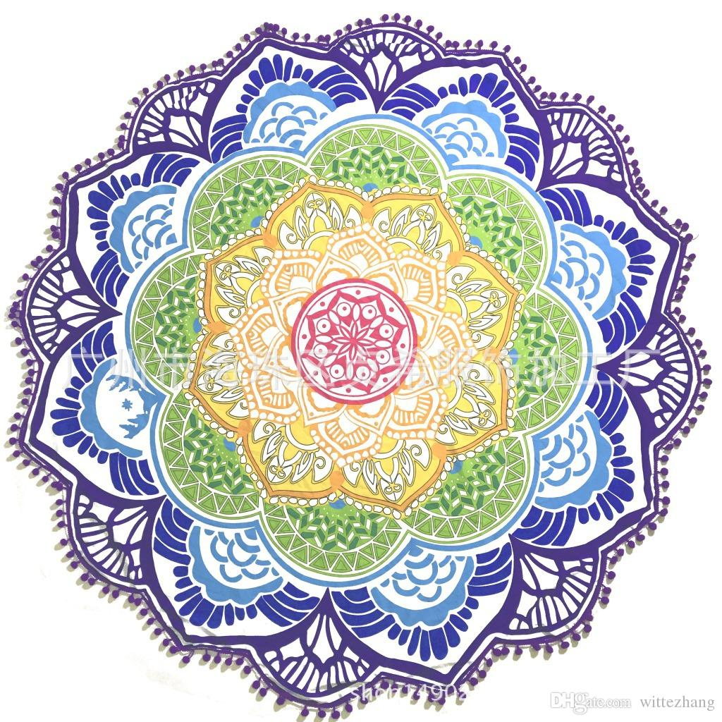Indian Mandala Beach Serviette Grand Lotus Impression Serviette De Plage Ronde Piscine Maison Douche Serviette Couverture 150 CM DHL Livraison Gratuite