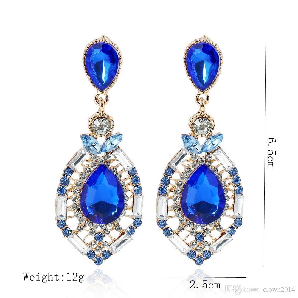 Orecchini le donne Gioielli economici Diamond Swarovski Crystal Stud Accessori da sposa Orecchini da sposa strass moda verde blu rosso