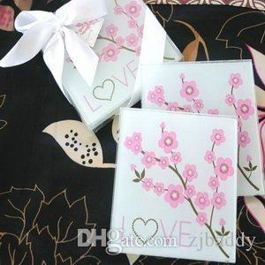Wholesale Wedding take away Gifts Cherry Blossom Clear Glass Cup Coaster Tablemat Cup Mat Casamento Kids Birthday party