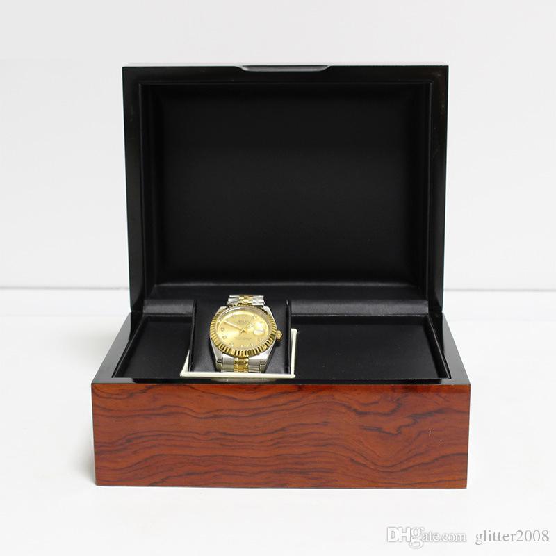 Contenitore di immagazzinaggio dell'organizzatore di visualizzazione dell'orologio dei monili della scatola di legno solido di marca Contenitore decorativo di regalo di bellezza di legno glitter2008