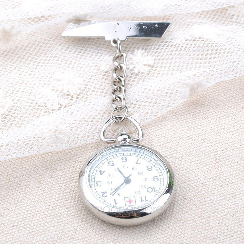 Wholesale Silver Nurse Pocket Fob Watch Women Men Watches Analog Quartz Stainless Steel Chain Pendant Best Designer