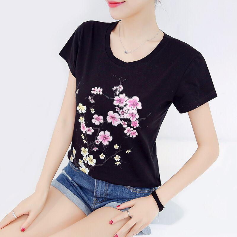 2017 T Shirt Women Korean Flower Print T Shirt Summer Plus Size ...