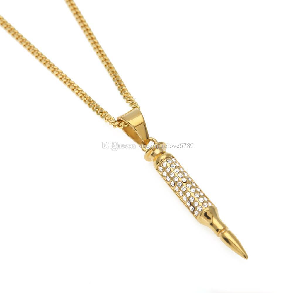 Homens iced out bala forma pingente de colar de strass de aço inoxidável de prata de ouro equipa hip hop colares cadeia de jóias