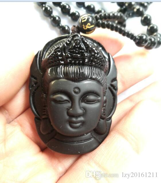 Collana di ossidiana naturale Moda nera Ruyi Guan Yin Ciondolo donna Uomo Vintage Fine gioielli di giada Ornamenti A1
