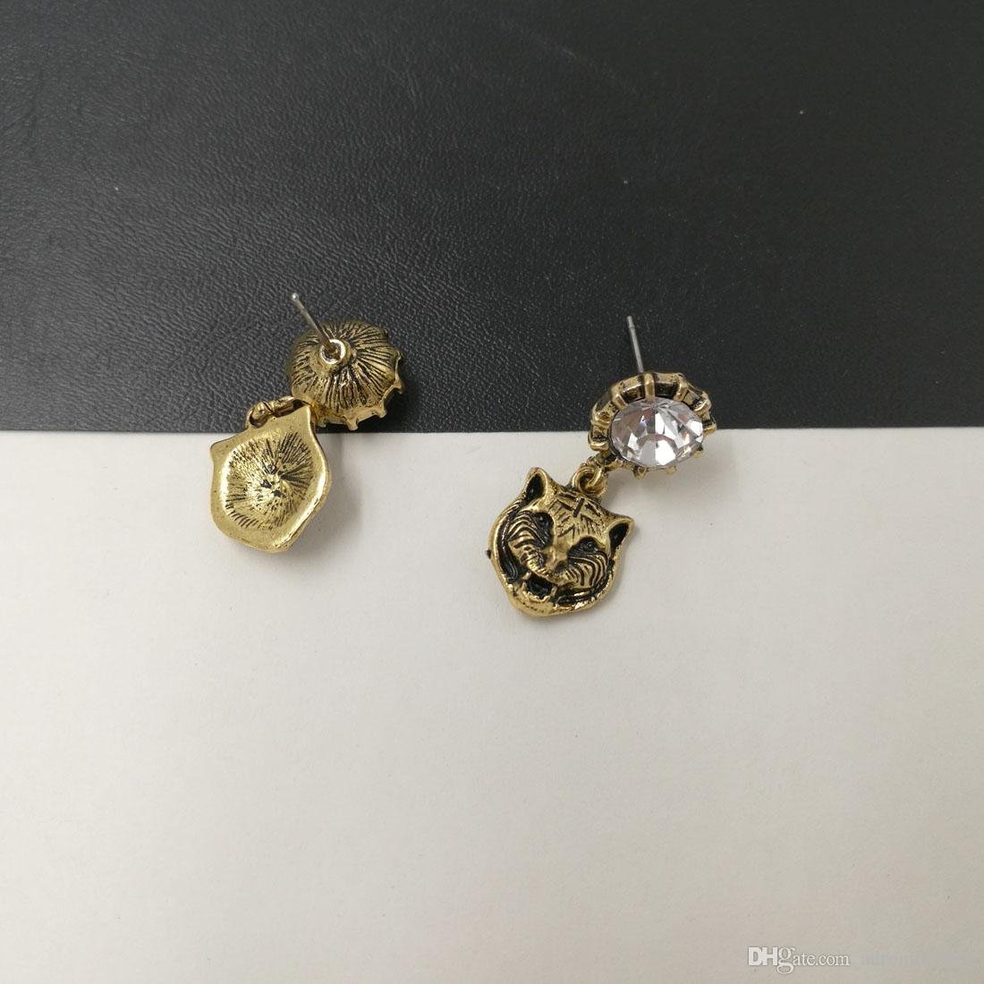 Новый бренд Vintage Metal Leopard Серьги Стержня для Женщин Ювелирные Изделия Золотая серьга Rhinestone brincos кулон Панк Bijoux аксессуары 2017