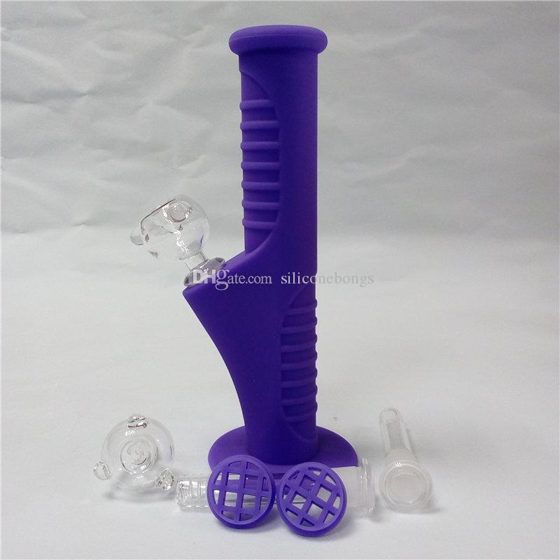 Púrpura Mini Bongs de agua de silicona Diez colores 9.5 pulgadas Mini Bongs de silicona Bongs de agua Bongs irrompibles Tubos de burbujeo