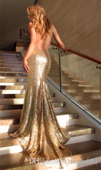 Profundo Decote Em V Aberto de Volta Sexy Vestidos de Noite 2017 Sereia Champagne Ouro Lantejoulas Prom Dress Sweep Train Vestidos de Noite