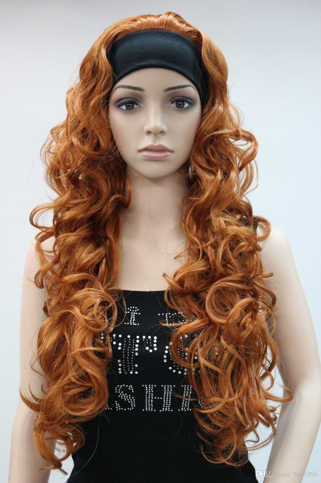 Charming beautiful New fashion orange brown 3/4 wig with headband curly long synthetic women's half wig