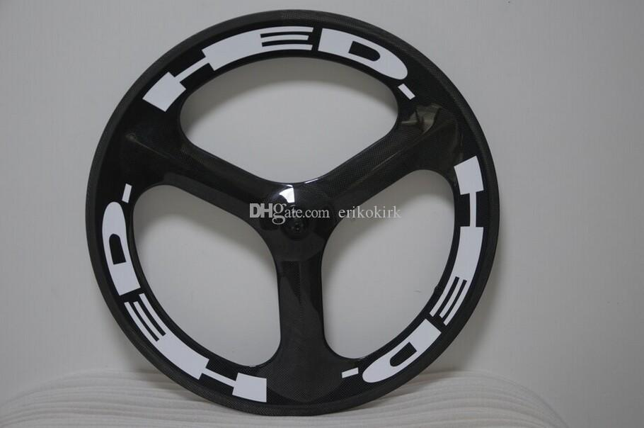 carbon tri spoke wheelset track bike wheels or road bicycle carbon 3 spokes with HED painting fixed Gear