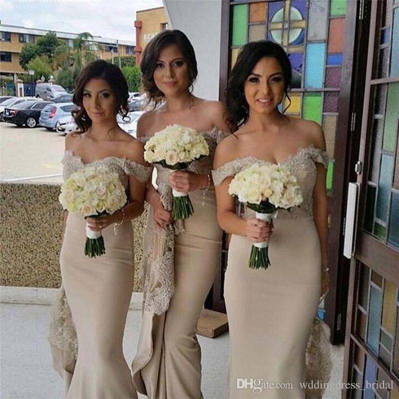 Champagne longue sirène robes de demoiselle d'honneur 2019 sexy hors de l'épaule dentelle appliques pays robe de soirée de mariage