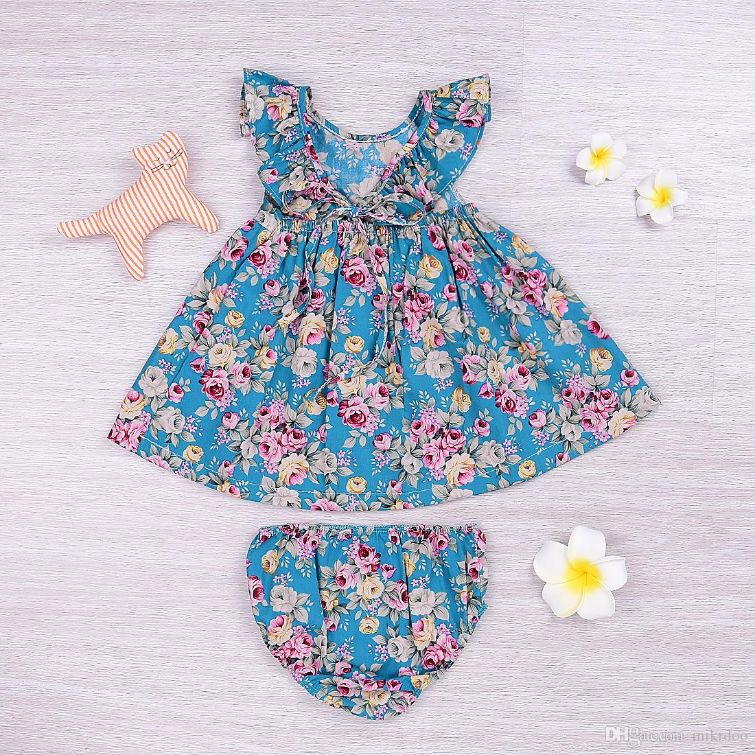 2017 Summer Kids Baby Girl Dress Mikrdoo Kid Flowers Clothes Suit Fashion Floral Ruffle Dresses Tops Bottom Sundress Cotton Outfit 0-5T