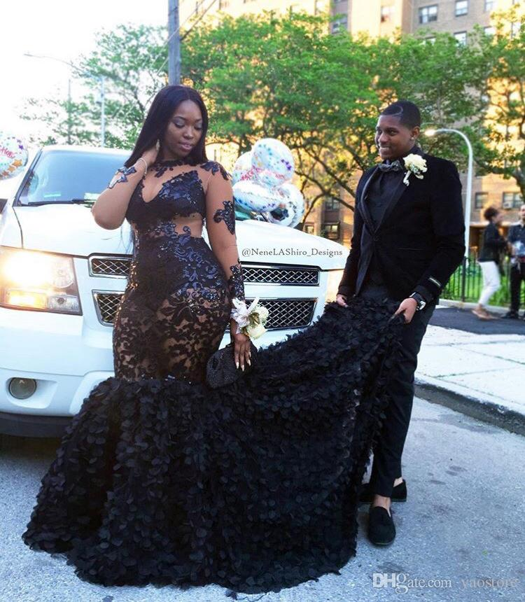 Stylish Africa Plus Size Appliqued Black Prom Dresses Custom Made 2017  Illusion Neck Long Sleeves Flowers Skirts Formal Gowns Evening Wear Dress  Long ...
