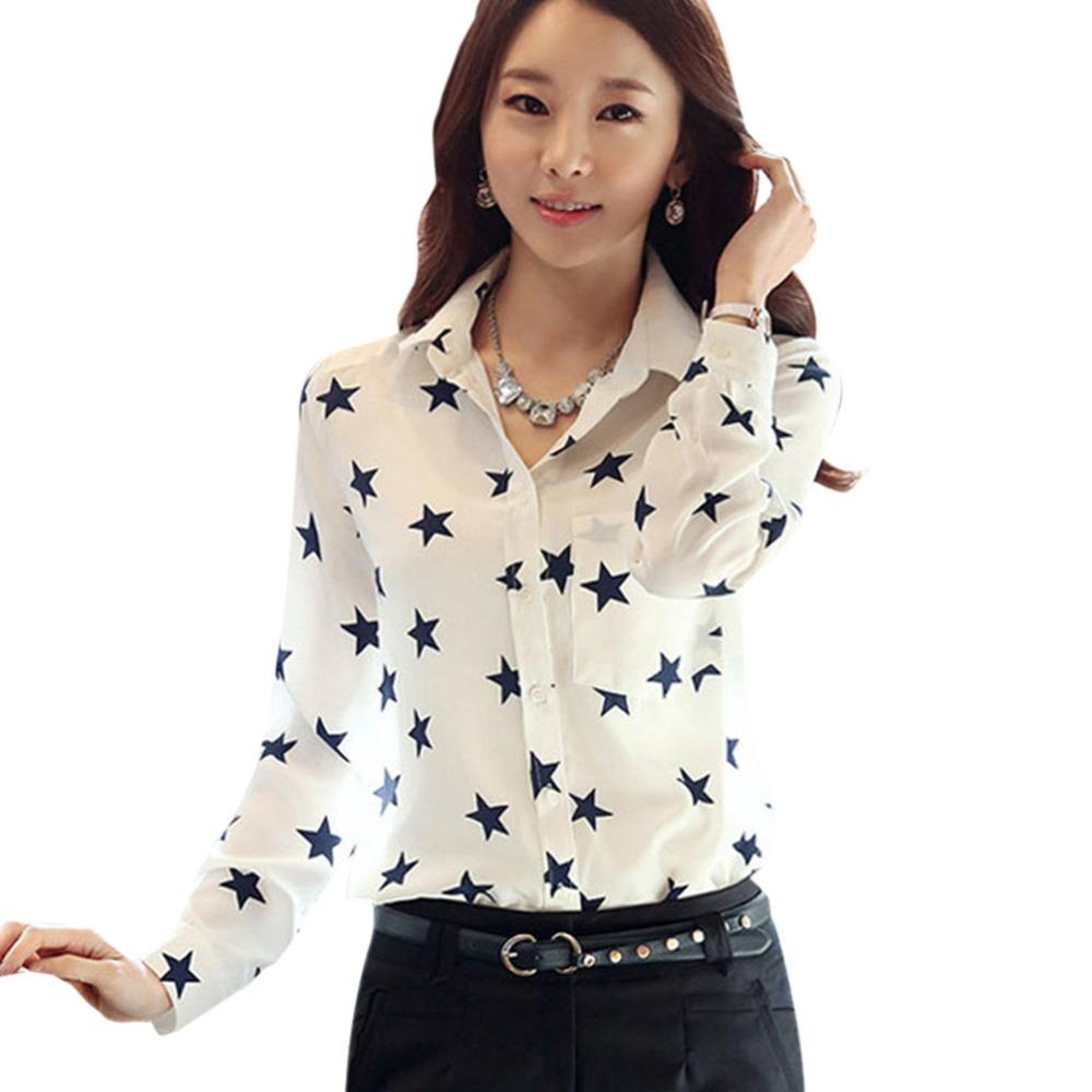 8a7b59be1f2 2019 Summer Women Casual Shirt Star Button Down Collar Long Sleeves OL  Career Work Office Lady S Blouse From Havory