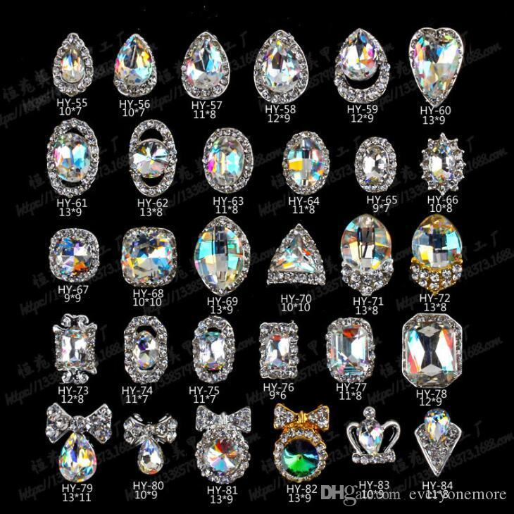 1b975e2e71 3D Nail Art Rhinestone Crystal Decorations Nail Tips Dangle Jewelry crown  waterdrop heart bow shaped 20pcs/lot free shipping