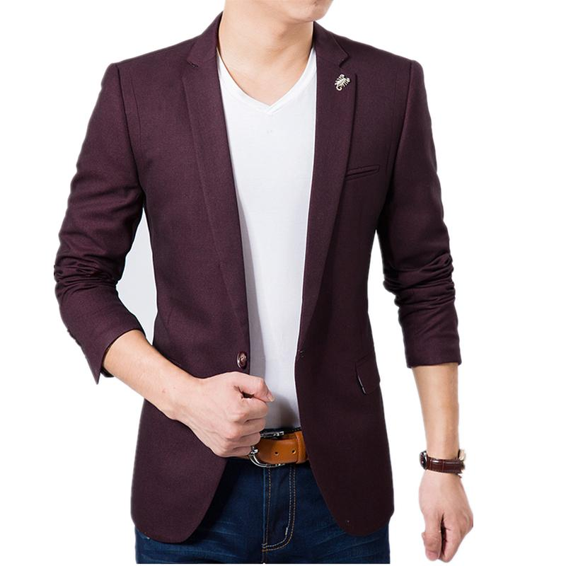 buy online d6210 6fca3 All ingrosso- caldo !! Elegante giacca sportiva da uomo 2016 Casual da uomo  Slim fit Giacca giacca Coat Abiti da uomo Wine Red Plus Size M-6XL