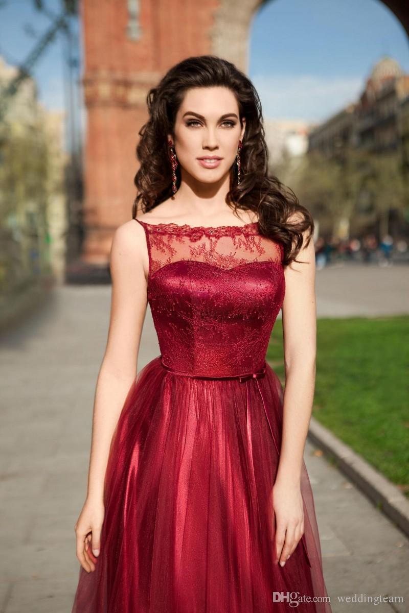 Ucuz Kırmızı Backless Gelinlik Modelleri Sheer Bateau Boyun Line Dantel Parti Elbise Kat Uzunluk Custom Made Tül Abiye giyim