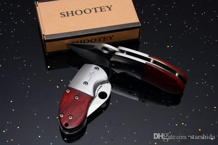 New Mantis Shootey QQ Pocket Folding Knife 7Cr17Mov 57HRC Wood Handle Outdoor Tactical Camping Hunting Survival EDC Tools Original Box