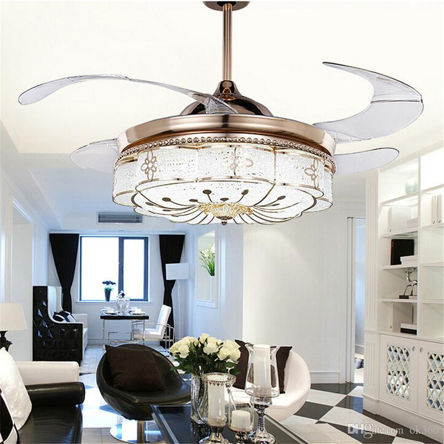 mute fan lights fans pendant remote chandelier invisible control folding led electric bedroom from product belt lamp retractable light ceiling modern