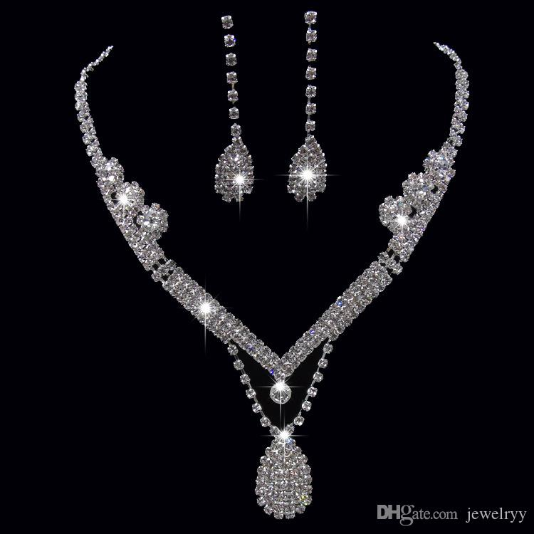 Shinning Crystal Wedding Bridal Jewelry Set Crystal Waterdrop Rhinestone Pendant Necklace and Earring Set for Women Jewelry Prom Gifts
