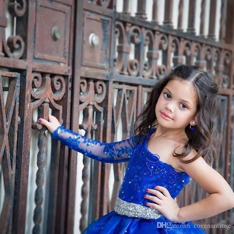 2017 Girls Pageant DressES With Sash Long Sleeves One Shoulder Princess Ruffle Beaded Appliques Formal Girl Dresses Kids Party Gowns