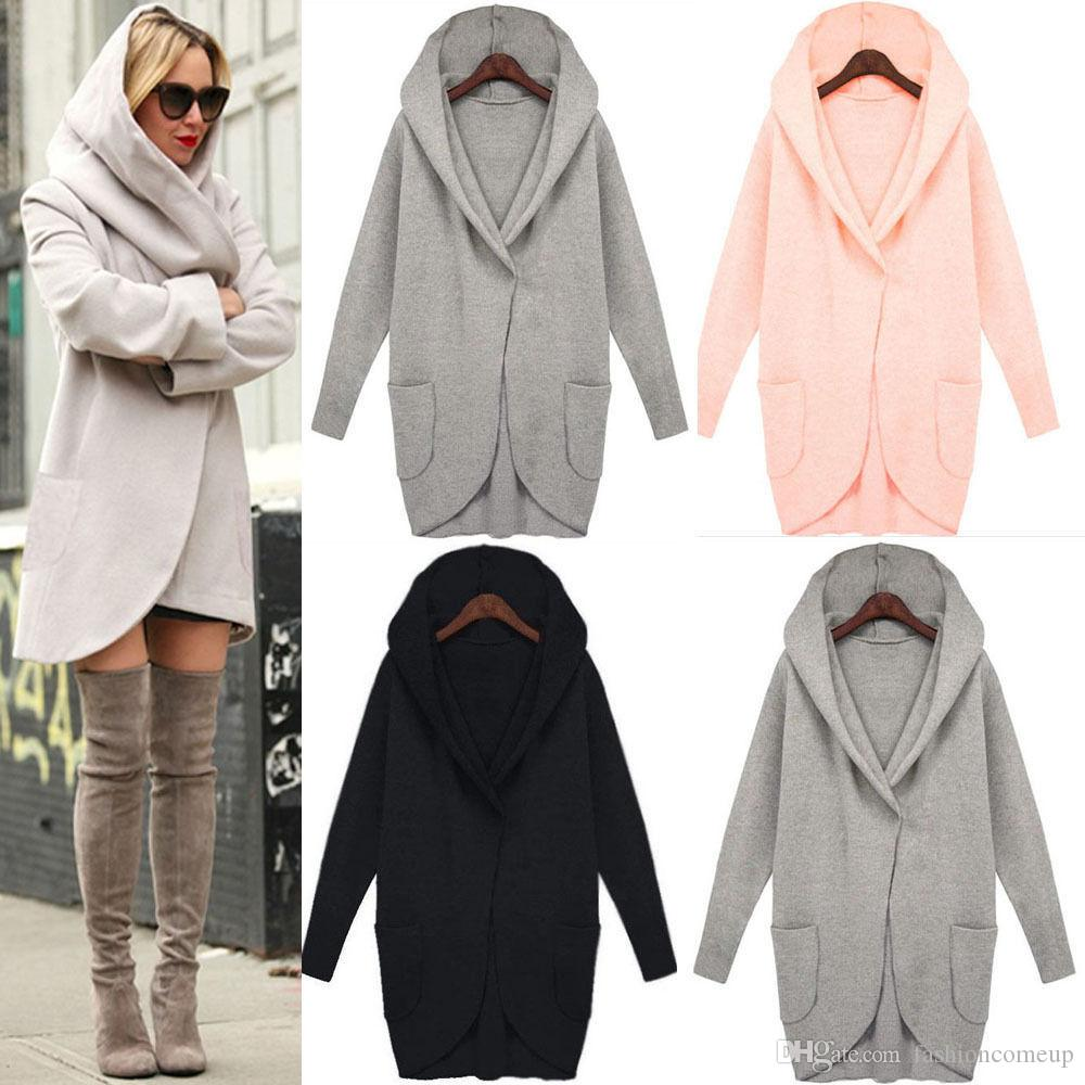 2018 2017 Winter Womens Tweed Coats Long Sleeve Hooded Plus Size ...