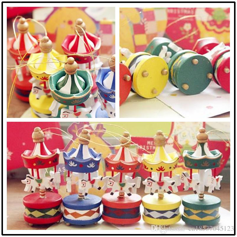 new arrival personalized lovely carousel shape decoration for christmas treenew year day wooden christmas ornamentschristmas decor christmas decor for