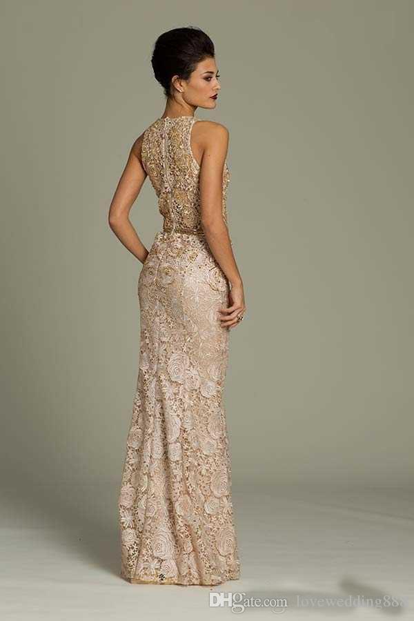2019 Modest Champagne Full Lace madre della sposa Abiti gioiello collo colonna che borda sash pavimento lunghezza abito da sera