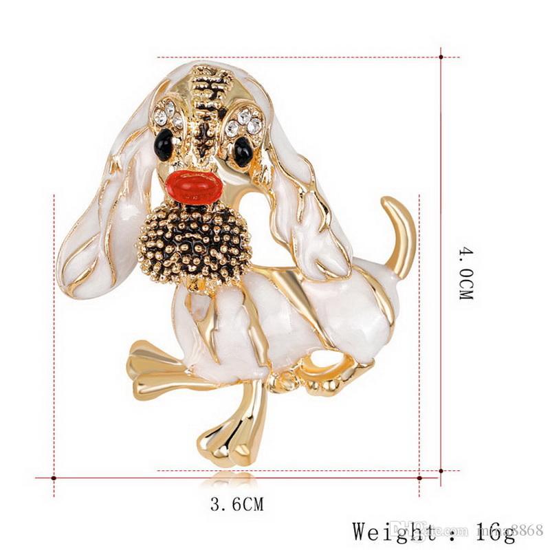 Moda Animales Esmalte Broches Pins Lindo Rhinestone aceite perro broches Pins para ropa bolsas Broches para boda solapa Pins