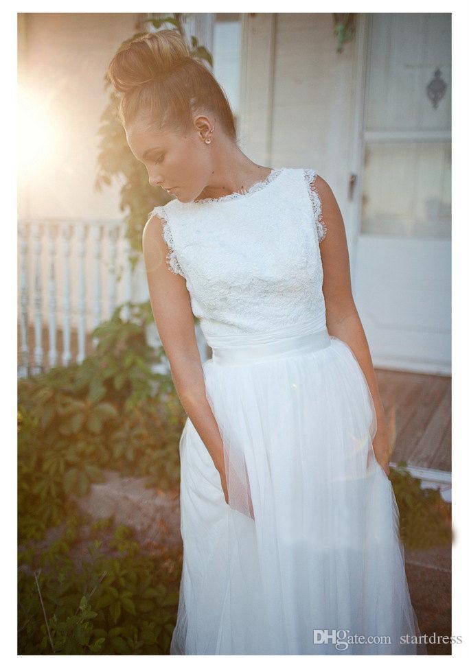 Simple White Lace Wedding Dresses Modest Floor Length Tulle Beach Wedding Dress 2016 Cheap Sheath Bridal Dress Charming Robe De Mariée