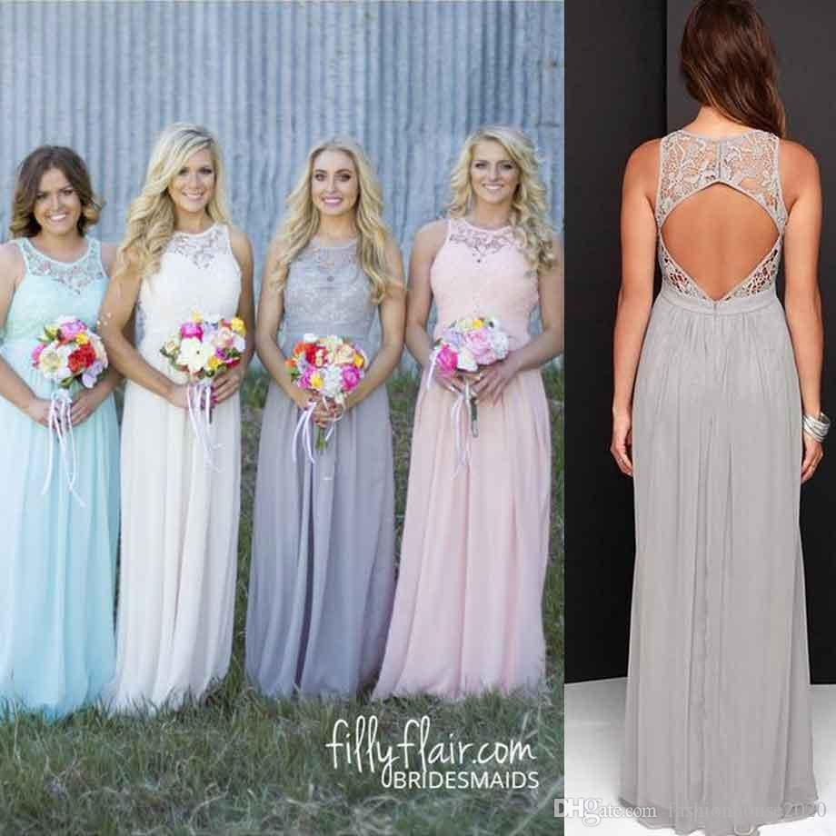 Cheap Grey Lace Country Bridesmaid Dresses Crew Neck Sexy Beach