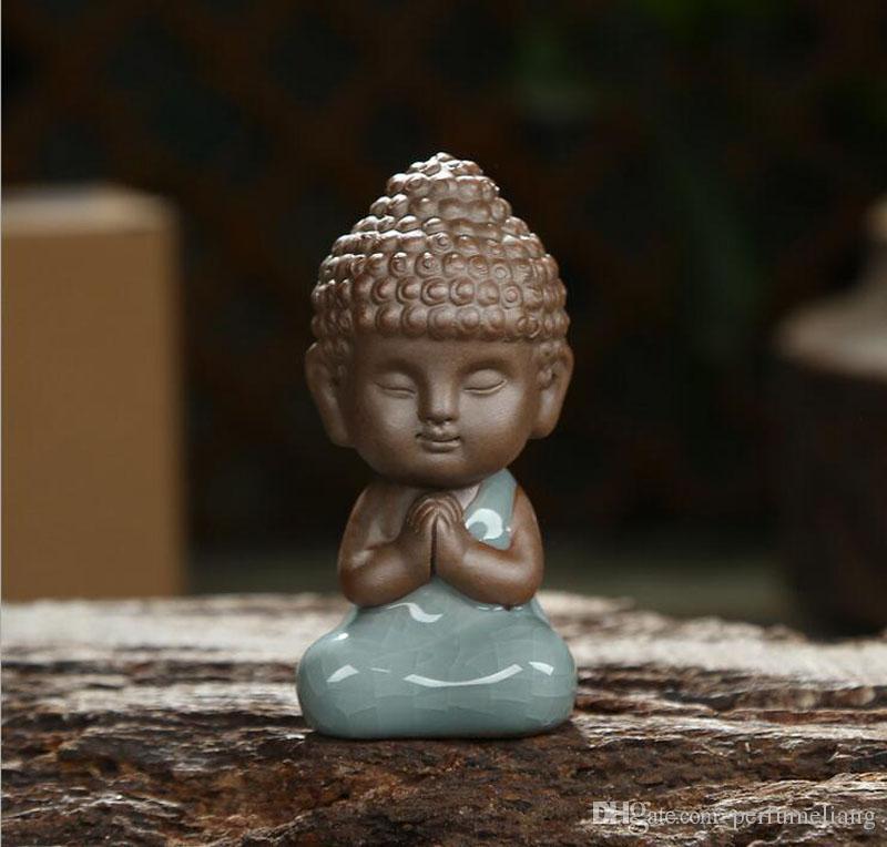 Chinois Zen Petit Bouddha Pourpre Argile Ge Four Céramique Thé Animaux Ornements Thé Cérémonie Thé Set Décoration Artisanat Ornement ZA2889