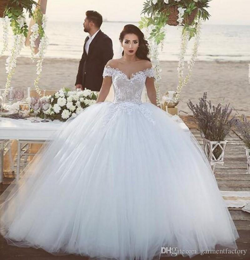 elegant 2017 ball gown wedding dress off the shoulder neckline lace appliqued white tulle bridal ball gowns custom made maternity wedding dresses modest