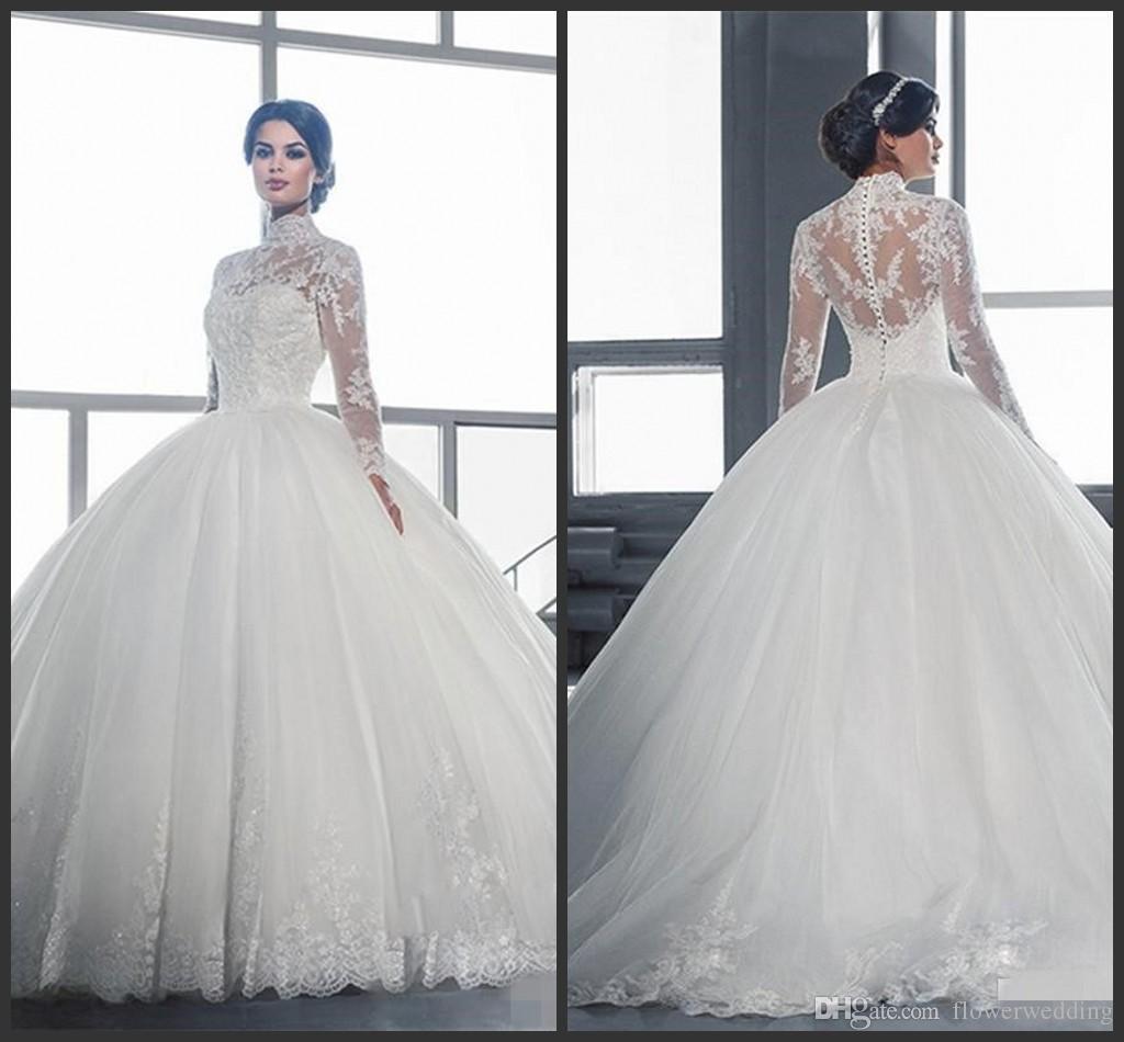 Vestido de novia de cuello alto