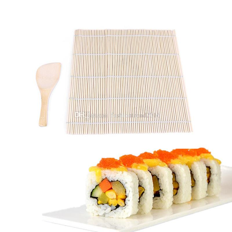 1 Set Sushi Rolling Mat Japanese Sushi Mold Pad With Spoon Rice Ball  Rolling Tools With Rice Paddle Set