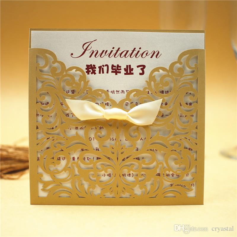 Wedding Invitation Cards Personalized Laser Cut Flower