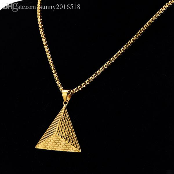 2017 New Fashion 3D Pyramid Pendant Necklace Charm King Necklaces Gold Chain Long Necklace for Men Personalized Retro Jewelry Party Gifts