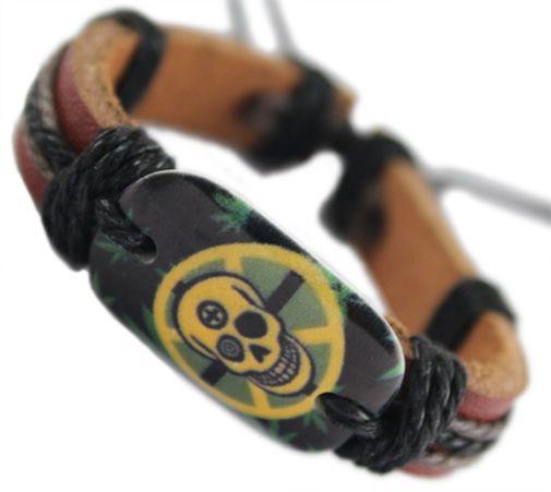 Cráneo pulsera de cuero genuino negro ajustable al por mayor lotes surfer encanto cadena unisex hecha a mano pulsera hombres mujeres brazalete DJ058