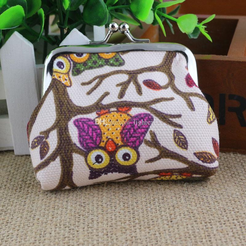 New Vintage Retro Canvas Purse Wallet Card Case Short Handbag Owl Wallets Coin Bag