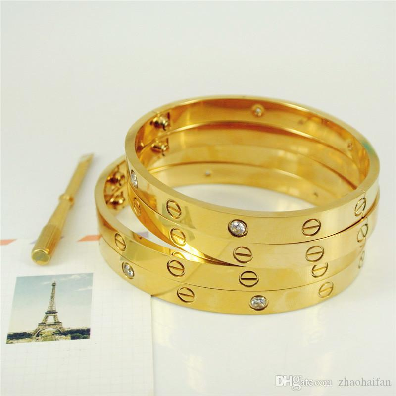 2017 Moda New rose ouro 316L pulseira de aço inoxidável parafuso bracelete com chave de fenda e parafusos caixa original nunca perder