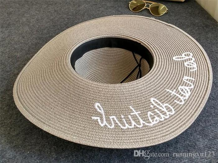 wide Brim sun hats for women Letter Embroidery straw Hats girls Do Not Disturb Ladies Straw hats lady sun hat R023