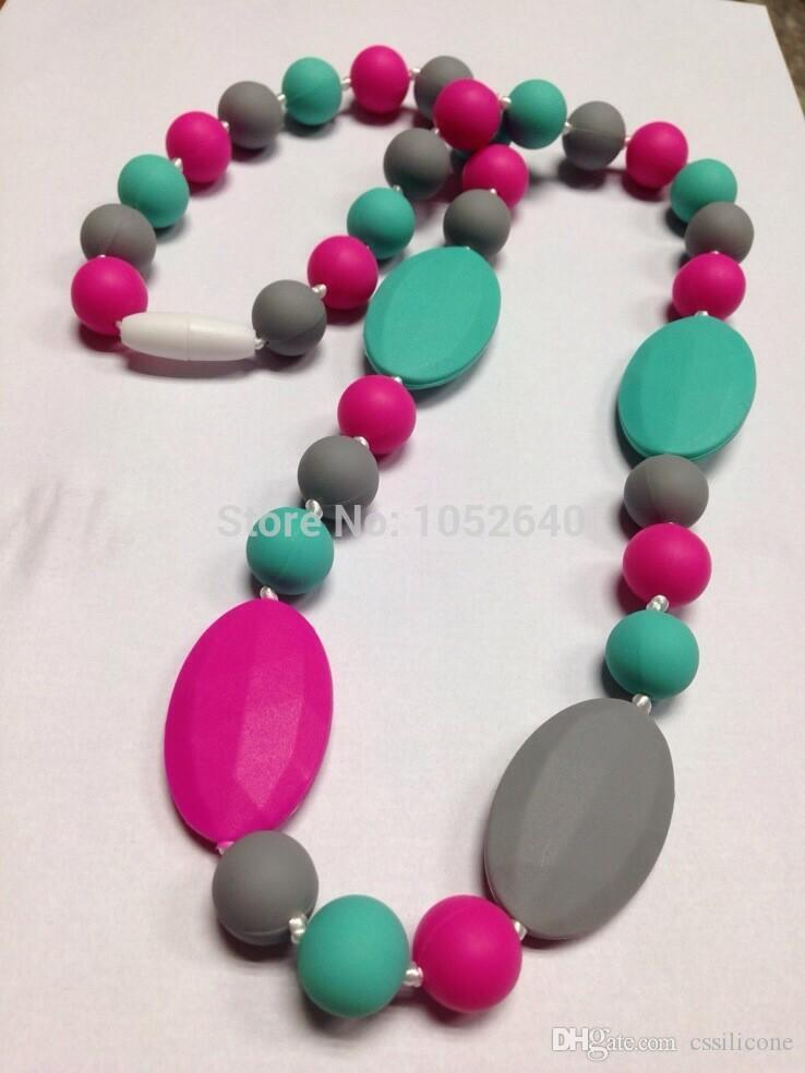 BPA Silicone Teething rainbow Necklaces with flat oval beads Food Silicone Teether Necklace Pendants Nursing necklace
