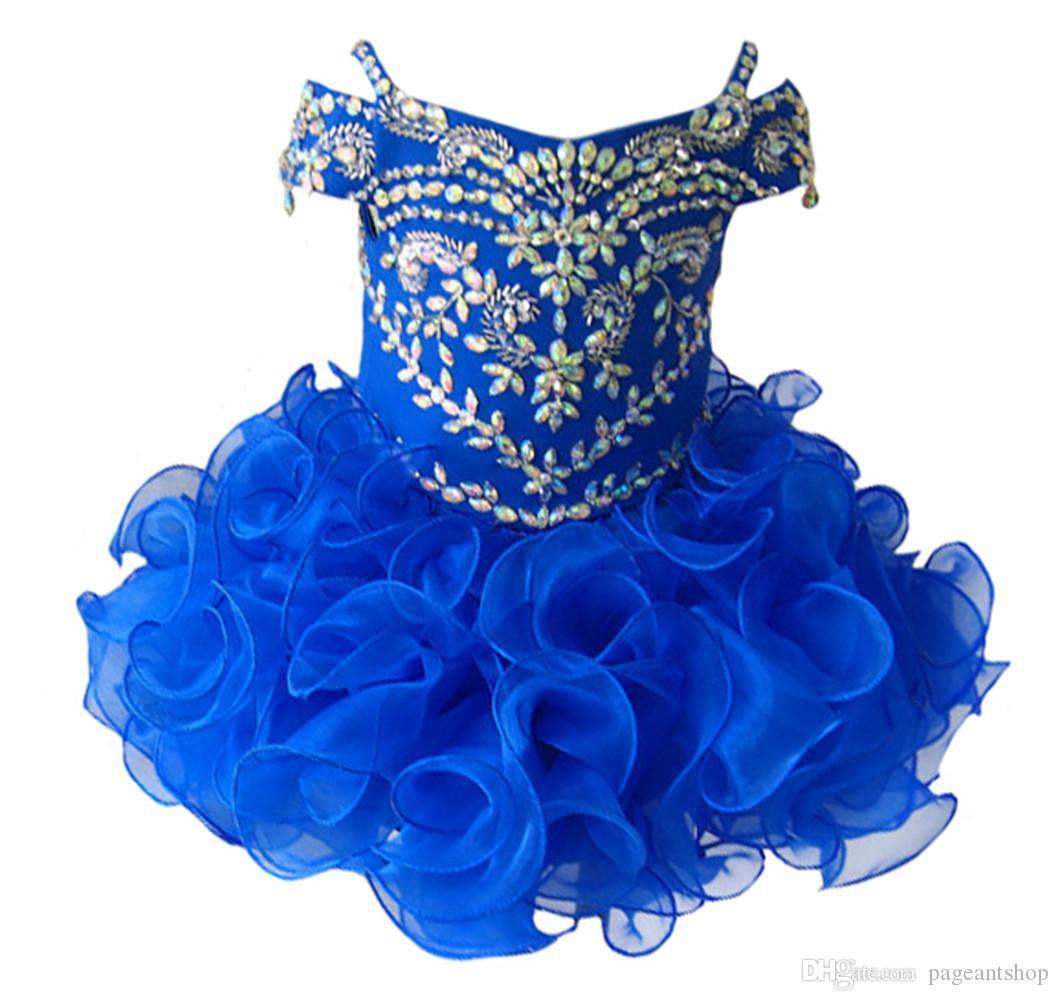 Gorgeous Diamond Glitz Girls Natioanl Pageant Cupcake Dresses Infant Tutu Gowns Toddler Baby Girls Ruffled Mini Pageant Dress