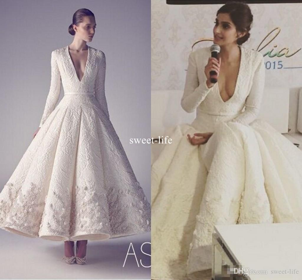 Sonam Kapoor in Ashi Studio 2020 White Vintage Tea Length Evening Formal Dresses V Neck Long Sleeve Middle East Arabic Occasion Prom Gowns