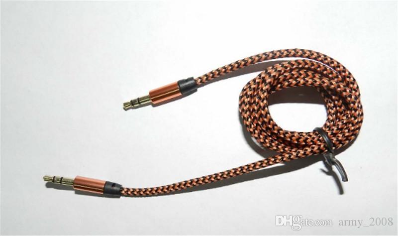 Örgülü Ses Yardımcı Kablo 1 m 3.5mm Dalga AUX Uzatma Erkek Samsung telefon PC Için Stereo Araba Naylon Kordon Jack MP3 Kulaklık Hoparlör
